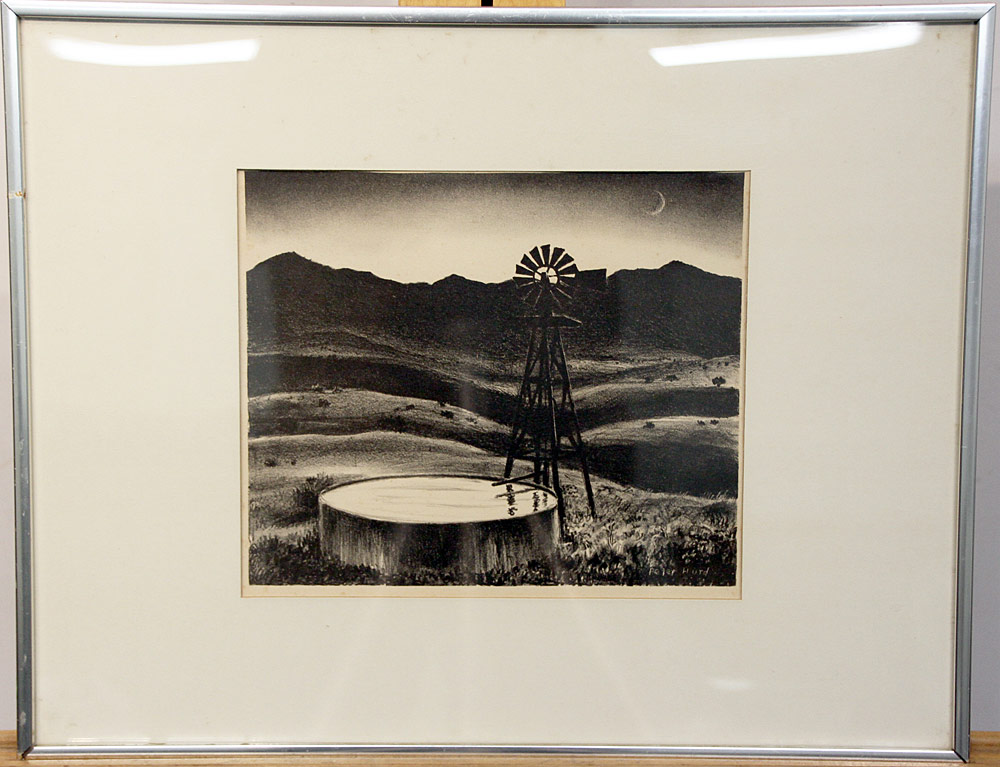 234. Peter Hurd Lithograph, Landscape with Windmill. $123