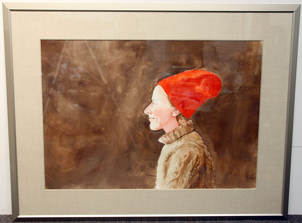 236. Sebastian Upson Watercolor, Woman with Red Hat. $531