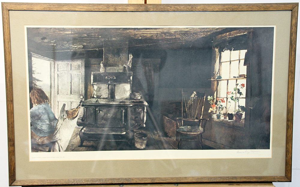 237. Signed Andrew Wyeth Print, Woodstove. $246
