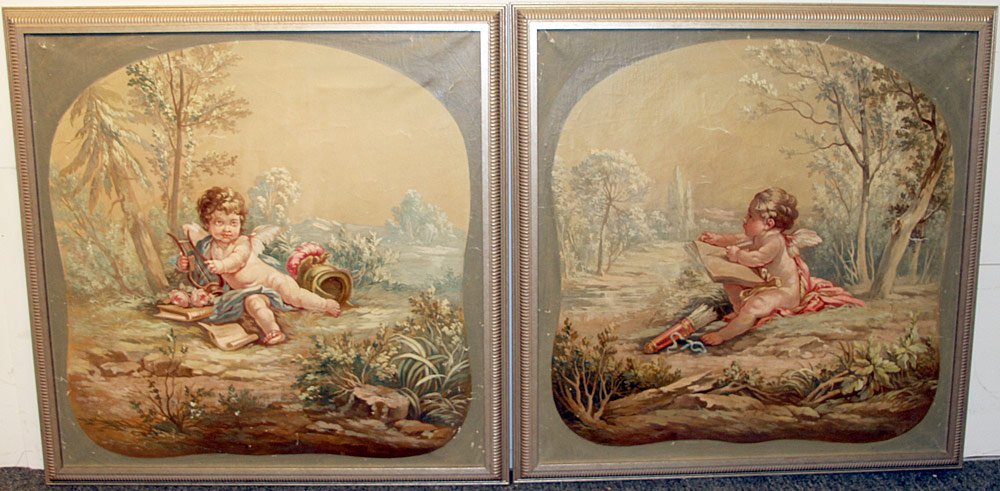 239. A Pair of French School Cherub Paintings. $324.50
