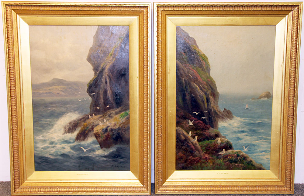 240. Pair of Daniel Sherrin Oils on Canvas, Seascapes. $615