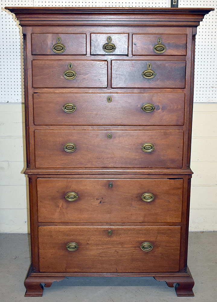245. Chippendale Two-part Semi-tall Chest. $1,599
