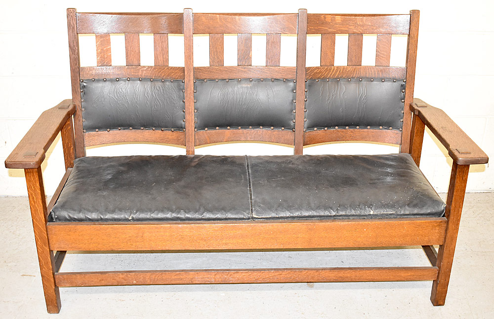 250. Stickley Bros. Arts & Crafts Oak Settle, #3861. $615