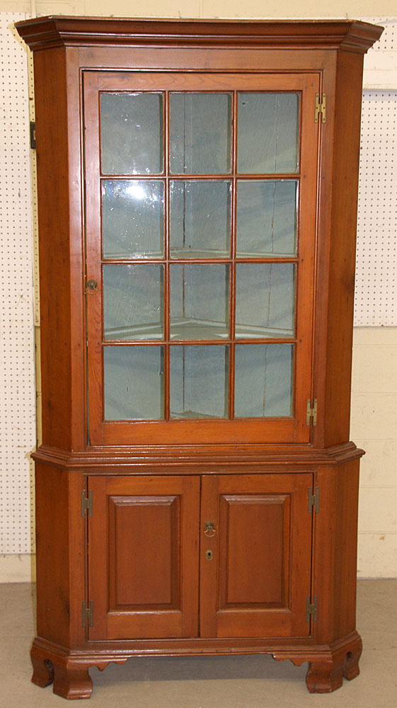 252. Chippendale Pine Two-part Corner Cupboard. $1,121