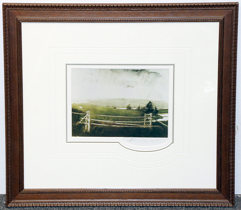 265. Pencil-Signed Andrew Wyeth Print, Toll Gate. $246