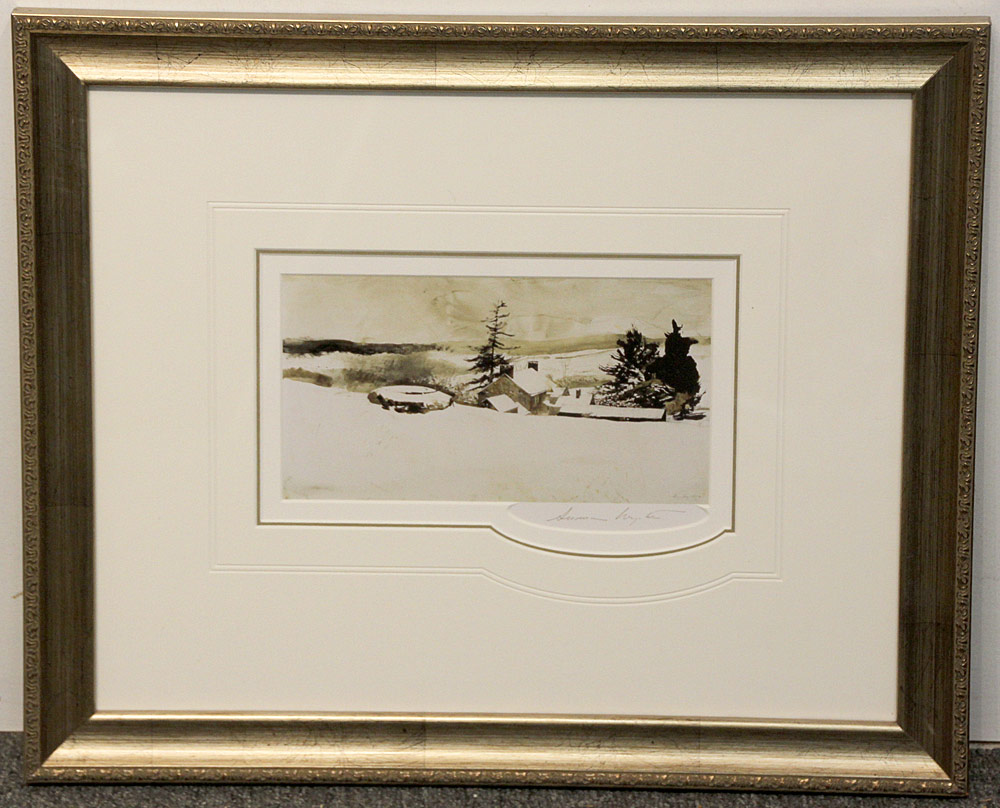 266. Pencil-Signed Andrew Wyeth Print, Cistern. $236