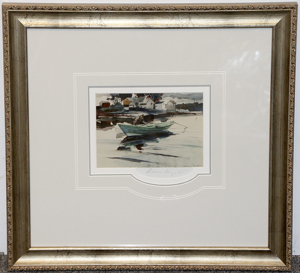 270. Pencil-Signed Andrew Wyeth Print, The Green Dory. $276.75