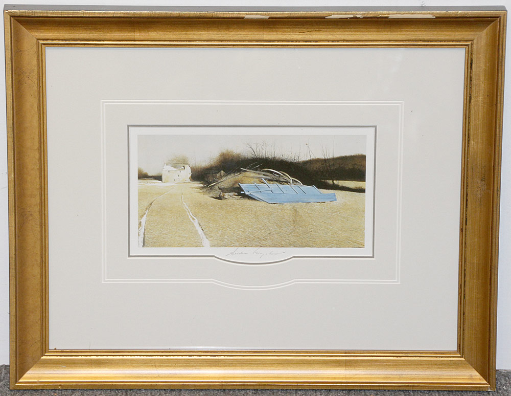 271. Pencil-Signed Andrew Wyeth Print, Flood Plain. $246
