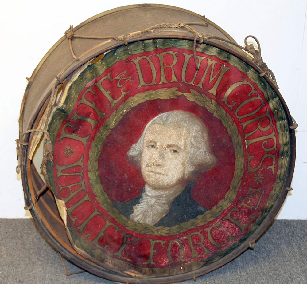 276. Valley Forge Fife & Drum Corps Painted Parade Drum. $354
