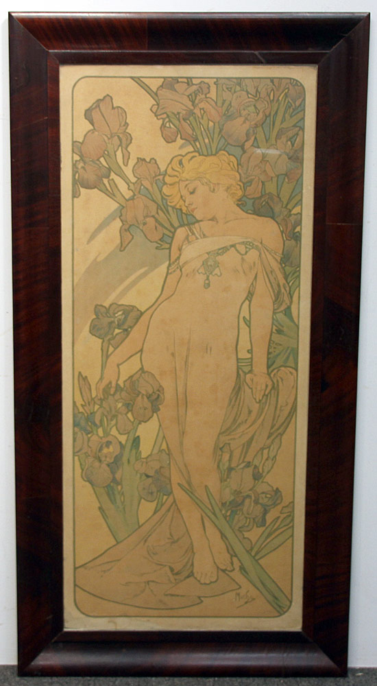 279. Alphonse Mucha Color Litho., Woman with Flowers. $1,599