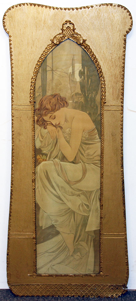 281. Alphonse Mucha Color Lithograph, Standing Woman. $1,230