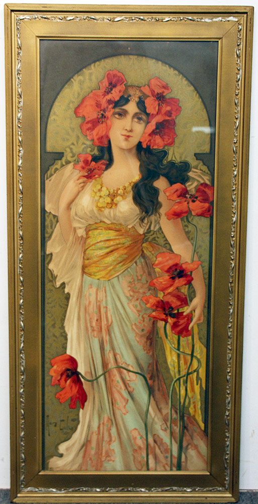 283. Mary Golay Color Lithograph, Woman with Flower. $236