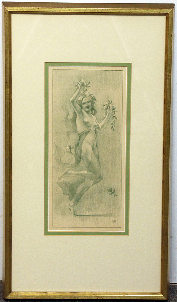 287. Art Nouveau Lithograph: Female Nude. $35.40
