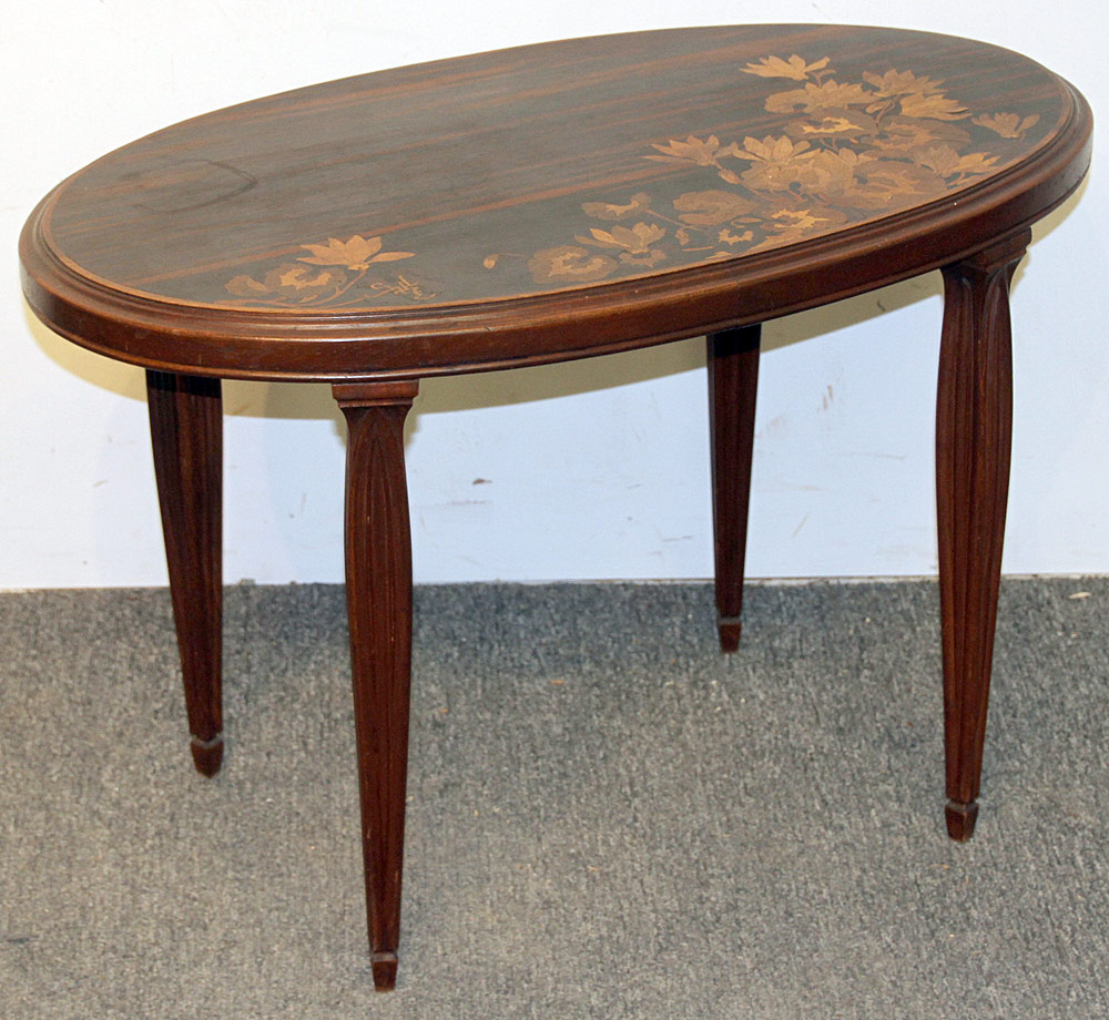 290. Emil Galle, France Marquetry-inlaid Side Table. $369