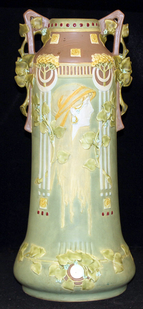 297. Large Art Nouveau Pottery Vase. $215.25
