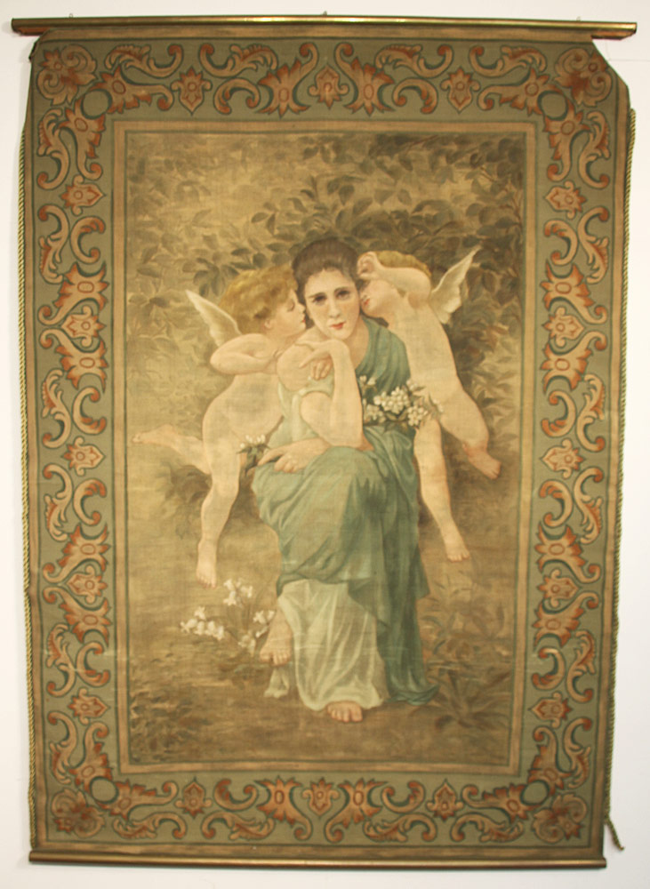 300. Art Nouveau Painted Tapestry. $369