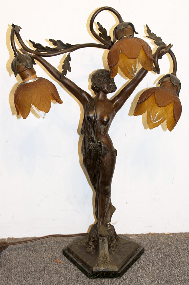 301. After Auguste Moreau Figural Table Lamp. $147.50