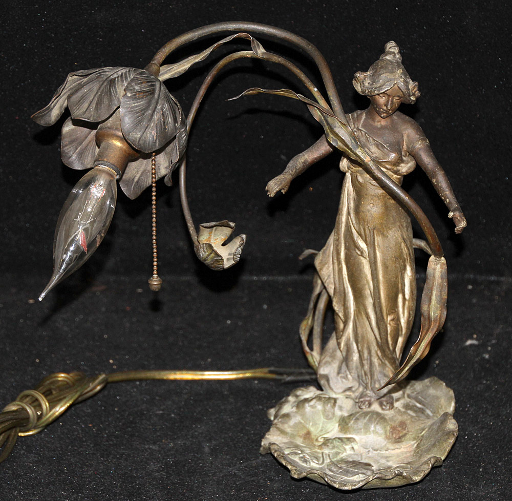 303. Alfred Foretay Art Nouveau Figural Lamp. $123