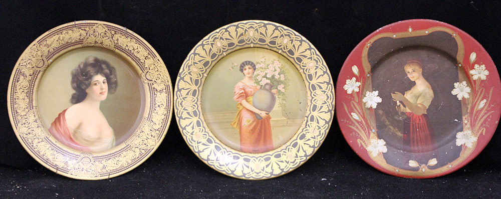 304. Three Vienna Tin Litho Art Plates. $47.20