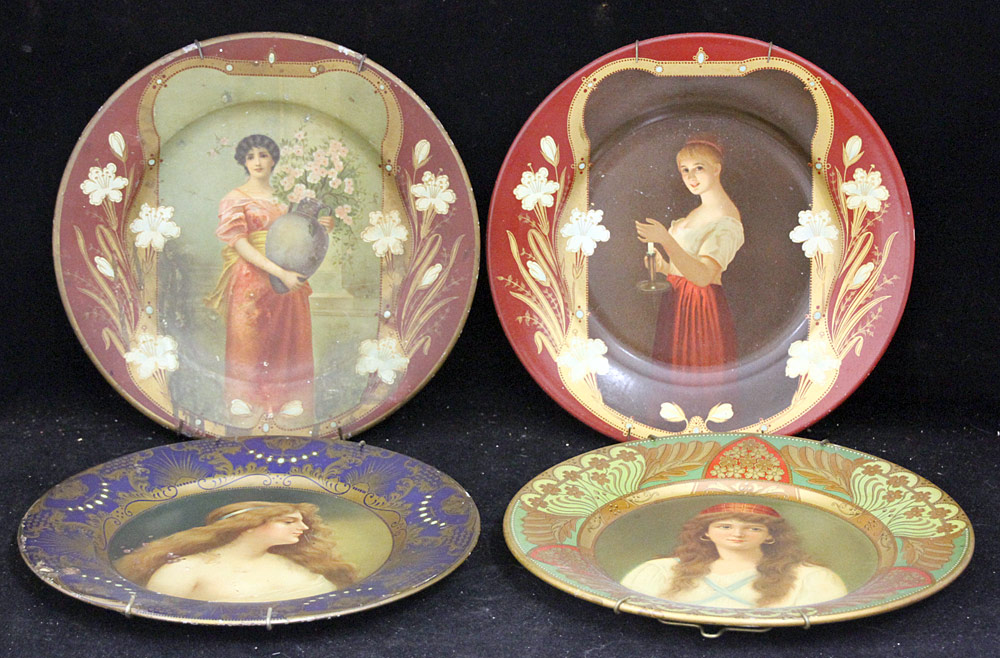 306. Four Tin Litho Art Plates. $35.40