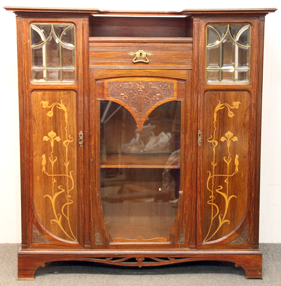 308 Art Nouveau Marquetry Inlaid Cabinet. $799.50