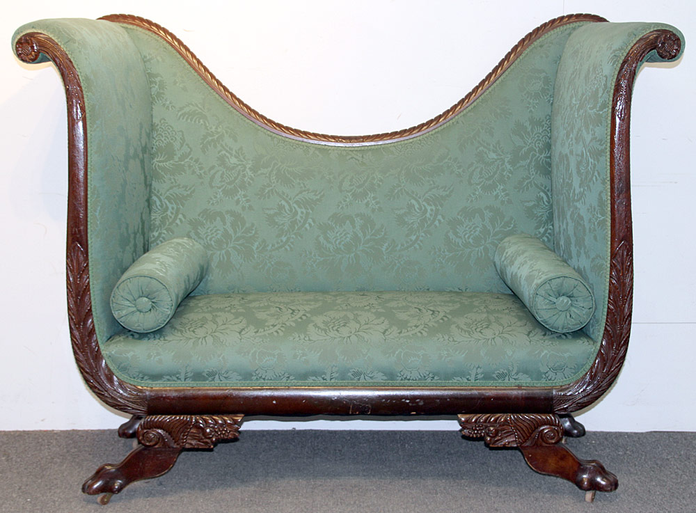 309. Classical Carved Mahogany Settee. $738