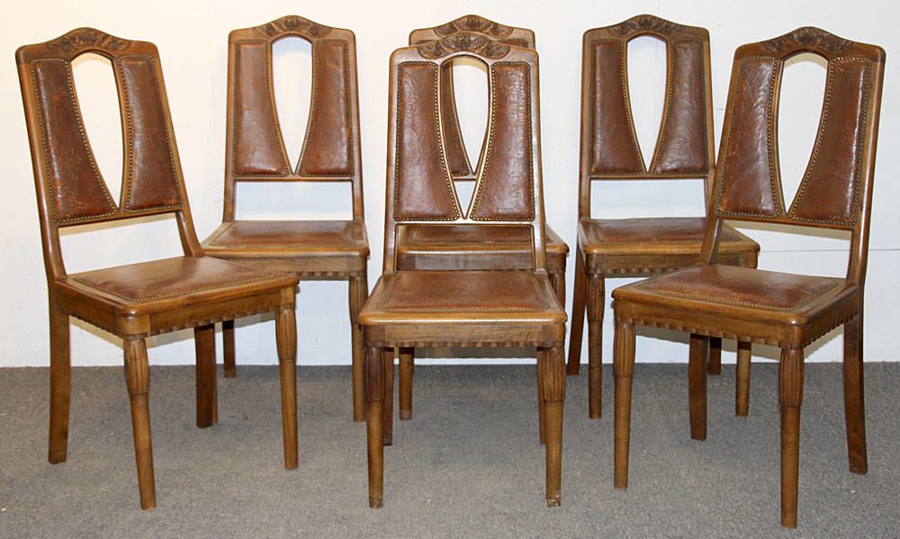 310. Art Nouveau Dining Table and Six Chairs. $354