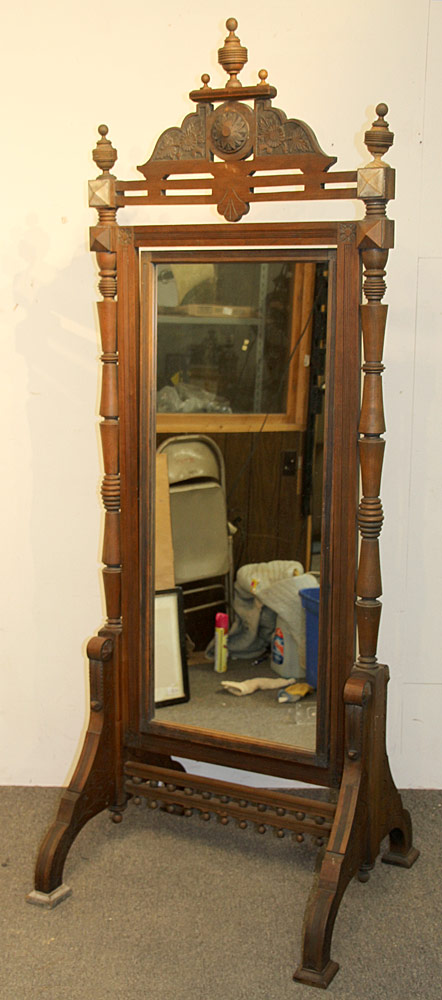 313. Victorian Eastlake Cheval Mirror. $276.75
