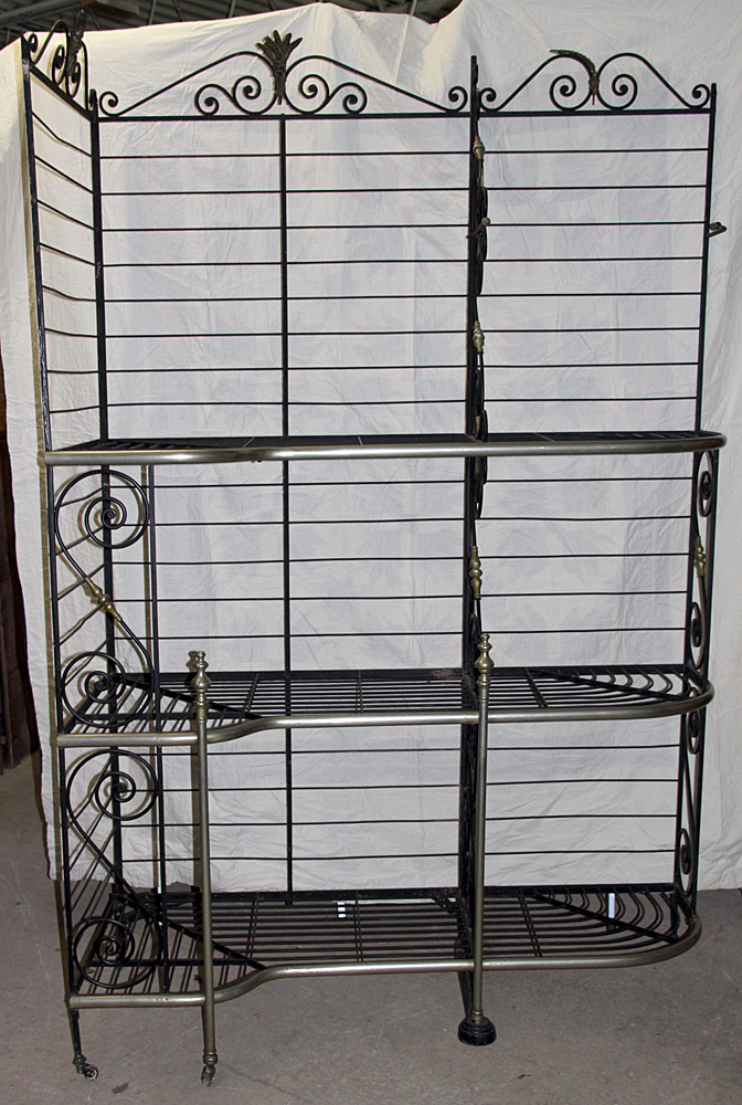 315. Large French Iron & Brass Corner Baker\'s Rack. $206.50