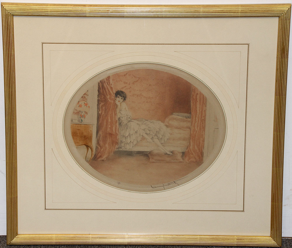 318. Louis Icart Color Etching, Pink Alcove. $276.75