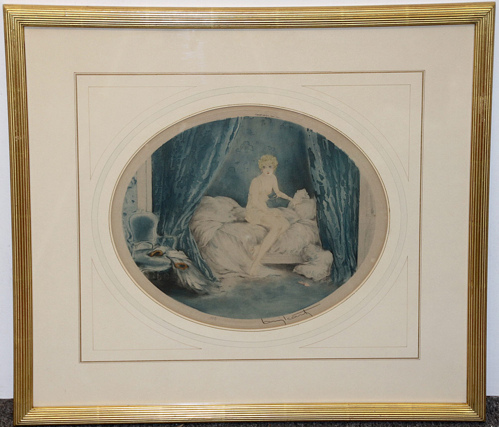 319. Louis Icart Color Etching, Blue Alcove. $307.50