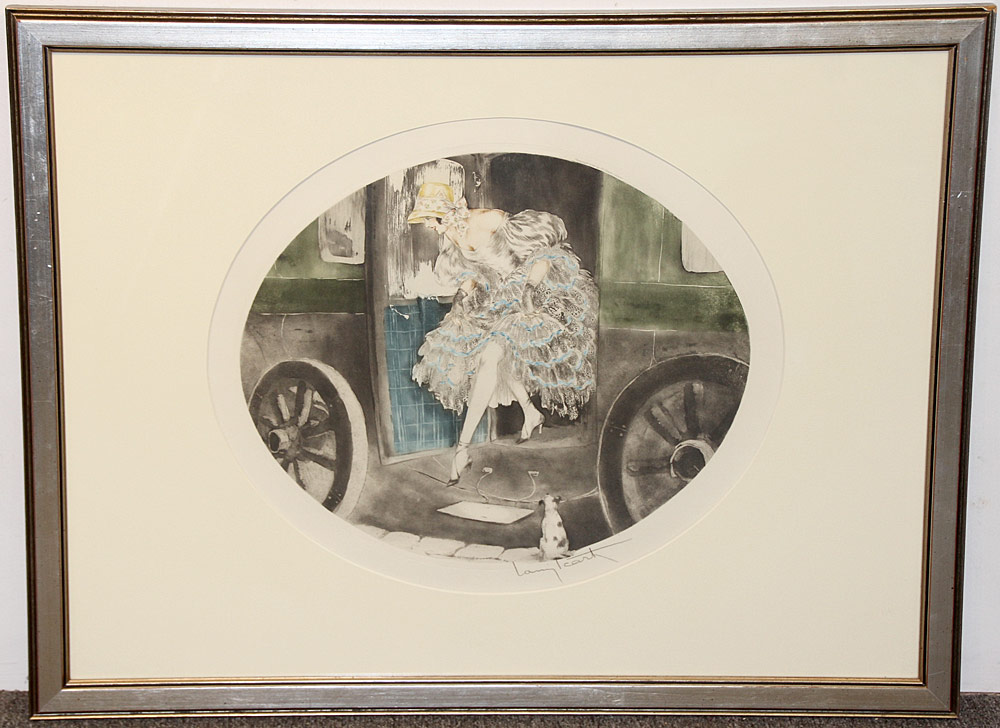 321. Louis Icart Color Etching, Woman Exiting Car. $324.50