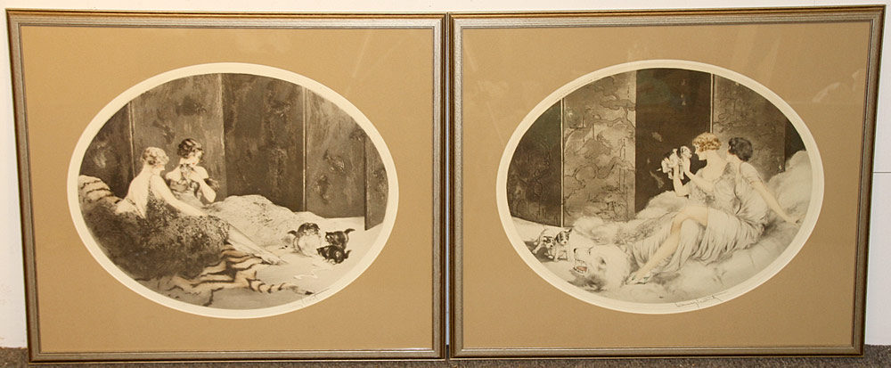 322. 2 Louis Icart Color Etchings, Petit Chats; Petit Chiens. $649