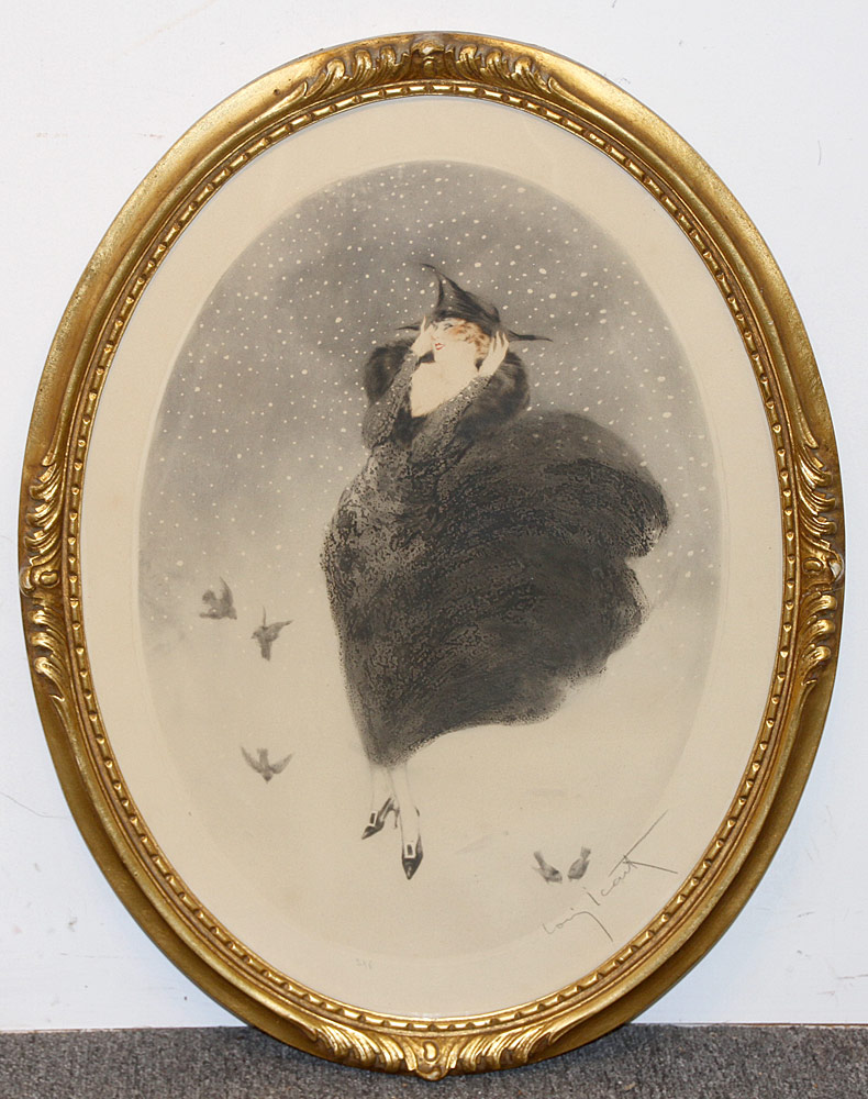 323. Louis Icart Color Etching, Woman with Birds. $369