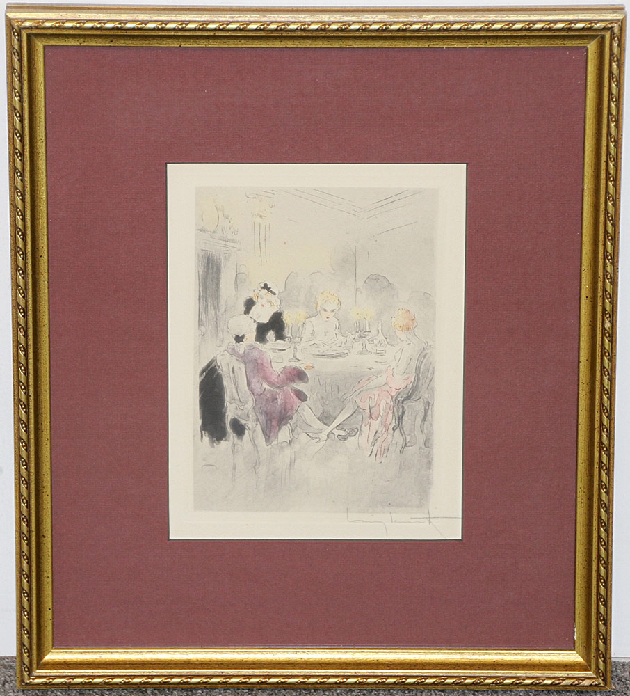 324. Louis Icart Color Etching, Dinner Party. $184.50