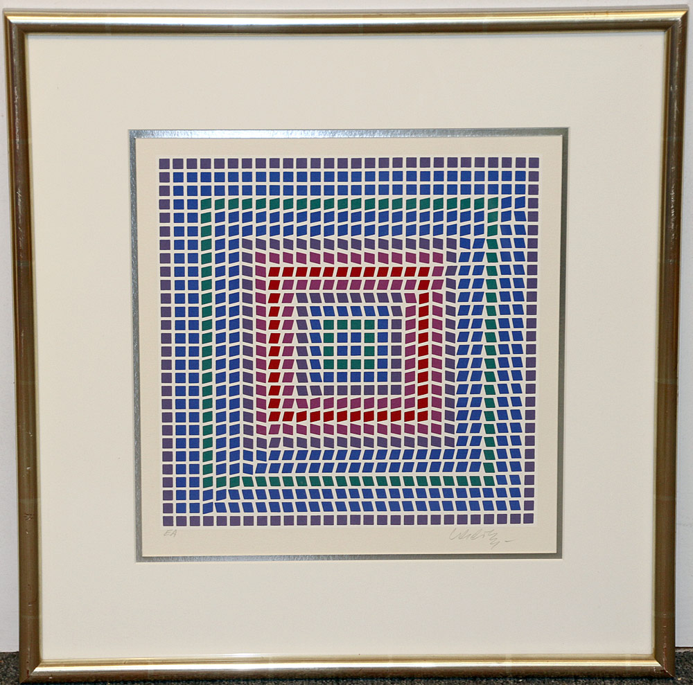 329. Victor Vasarely Screen Print in Colors. $354