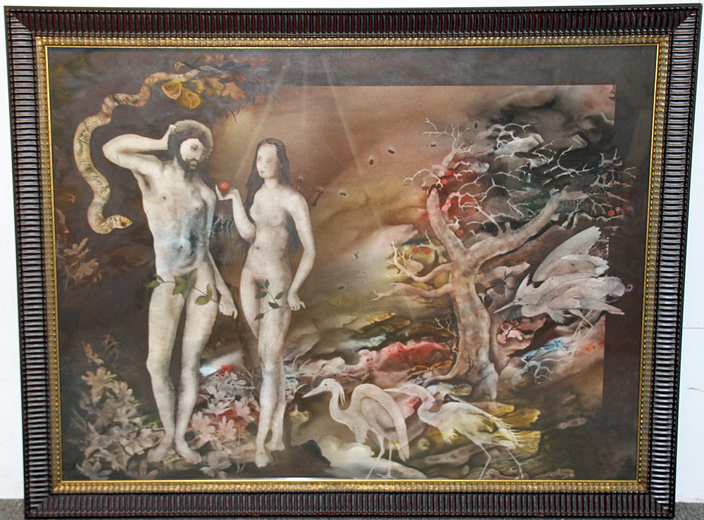 331. John Wissemann Watercolor on Paper, Adam and Eve. $354
