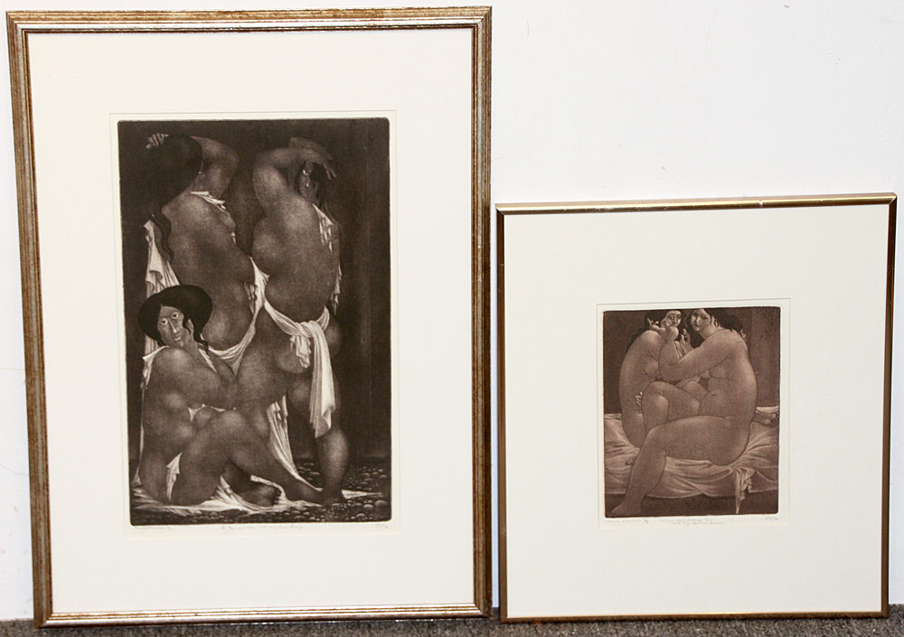 334. Two Amerigo Tot Aquatint Etchings, Nude Figures. $184.50