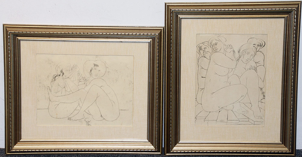 336. Two Amerigo Tot Pen & Ink Drawings, Nudes. $73.80