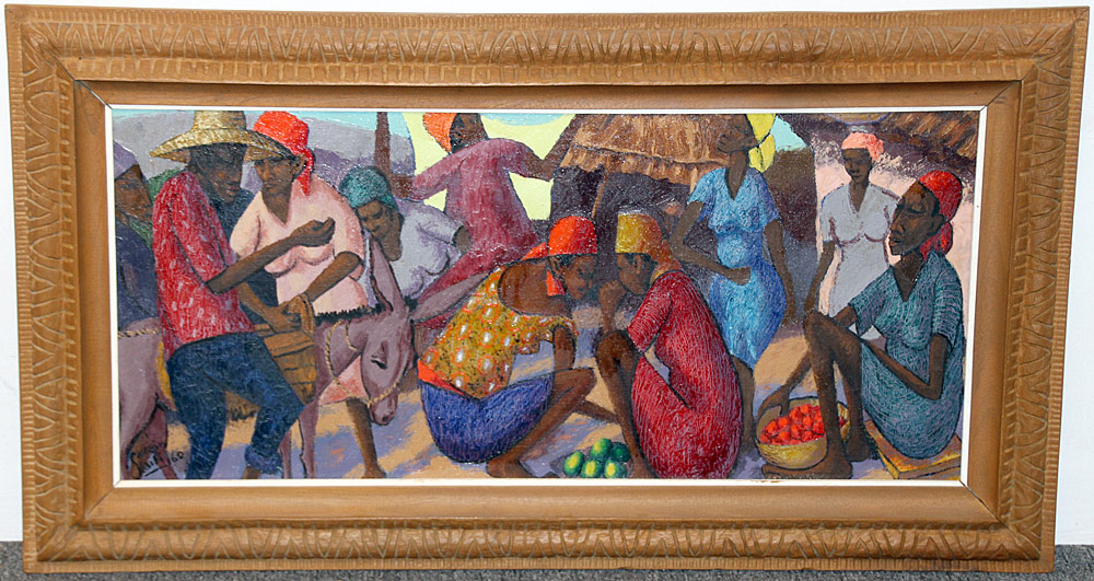 340. Petion Savain Oil/Canvas, Haitian Market Scene. $354