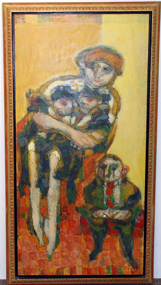 343. Harry Sefarbi Oil on Panel, Twins and Donor. $1,045.50