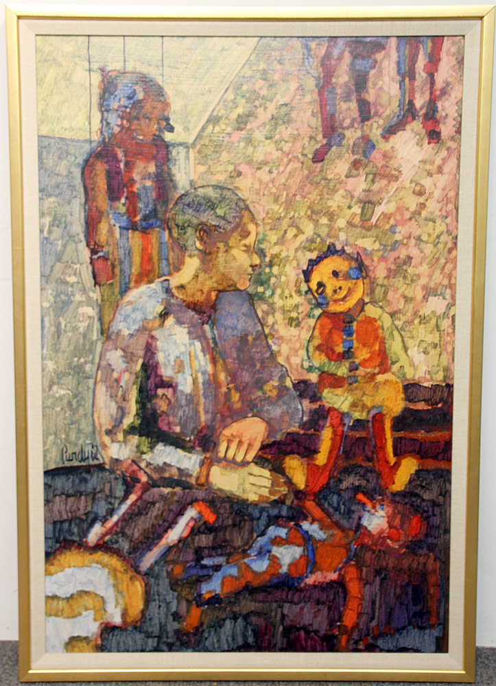 352. Donald Purdy Oil/Masonite, Figural Grouping. $59