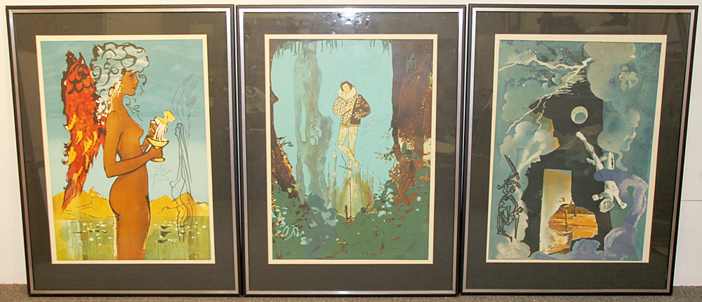 354. 3 Salvador Dali Lithographs, The Trilogy of Love. $2,952