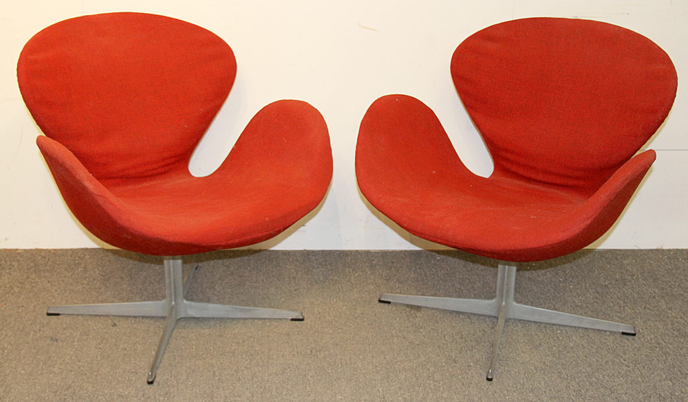 358. Two Arne Jacobsen for Fritz Hansen Swan Chairs. $2,952