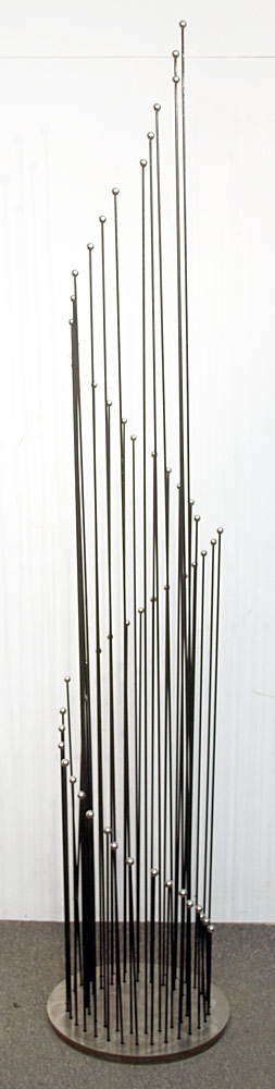 361. David Teeple Stainless Steel/Brass Sound Sculpture. $861