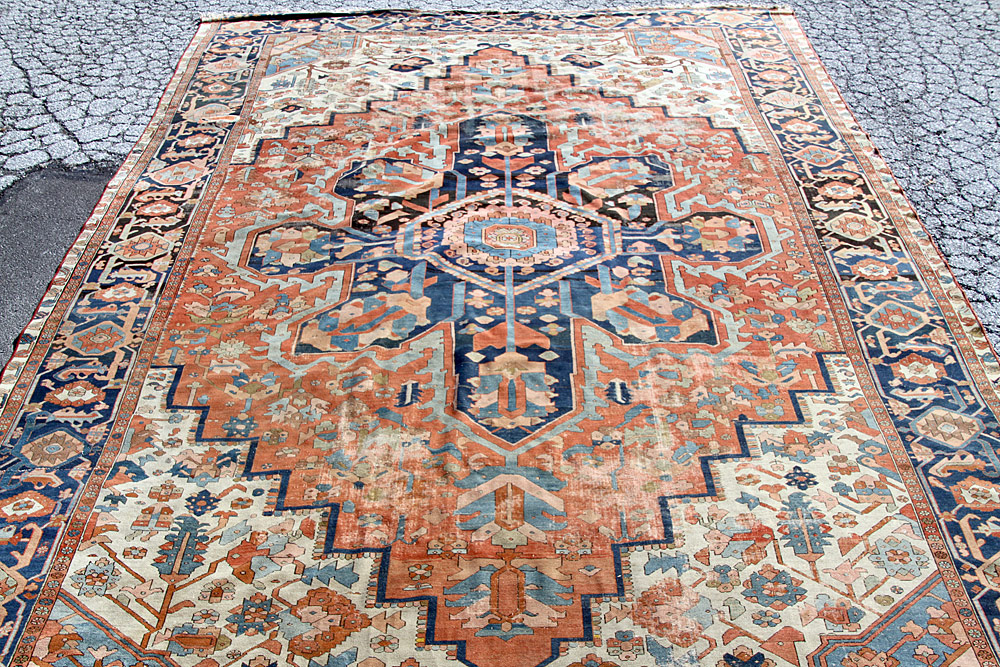 "370. Antique Serapi Room-size Carpet, 16\'6"" x 11\'8\"". $3,540"