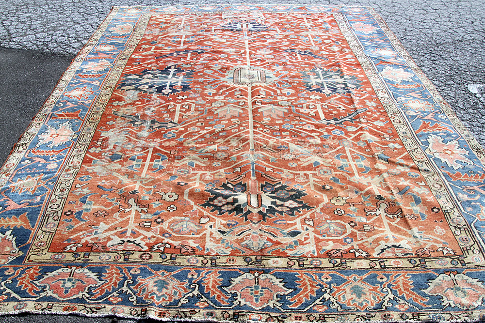 "383. Antique Heriz Room-size Carpet, 10\'1"" x 13\'2\"". $4,012"