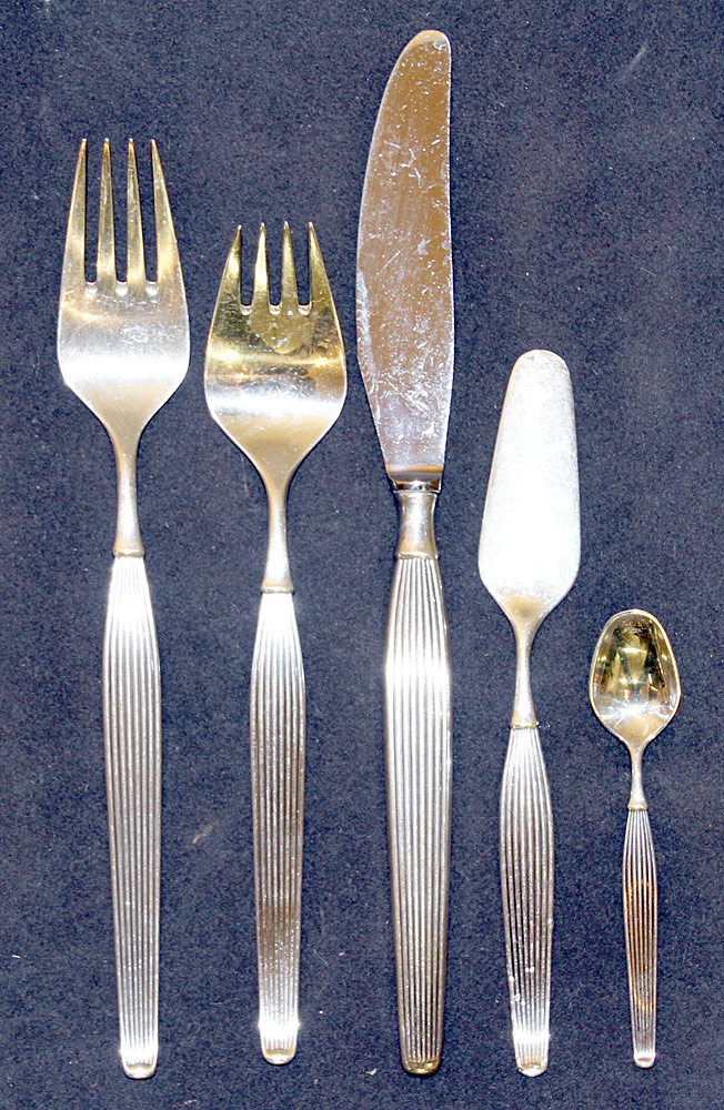 388. 57 Pcs. Danish Frigast Savoy Sterling Flatware. $1,003