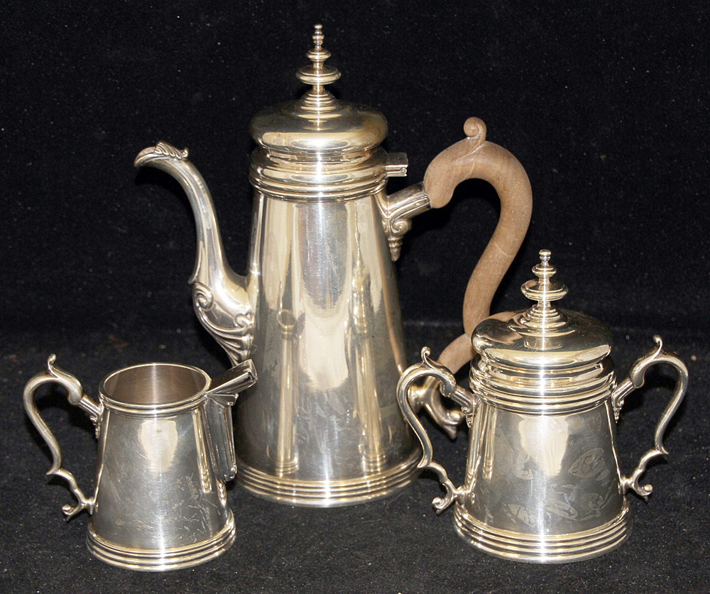 390. 3-piece Mexican Sterling Silver Coffee Service. $922.50