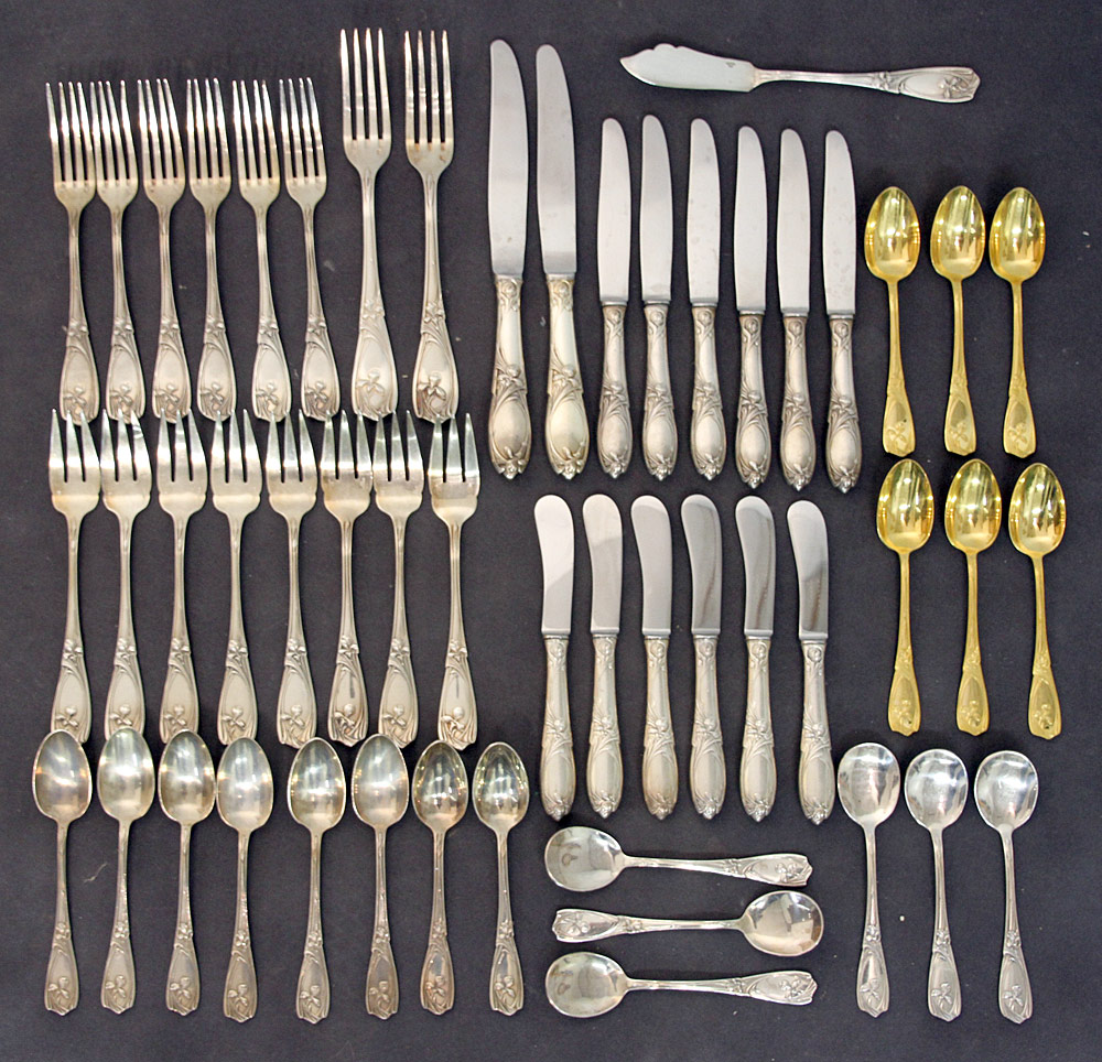 391. 51 Pcs. French Alphonse Mucha/Christofle Flatware. $615